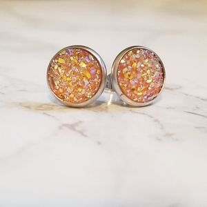 New 3/$20 Druzy Stud Earrings 10mm